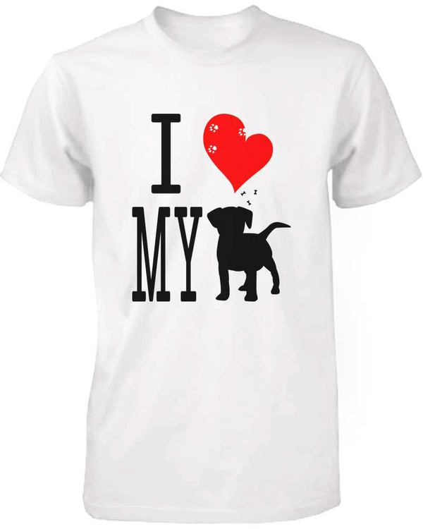 Funny Graphic Statement Women's White T-shirt - I Love My Dog - What's Your Chic