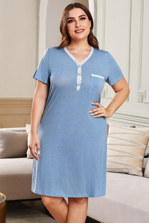 V-neck Button Polka Dots Short Sleeve Plus Size Loungewear - What's Your Chic