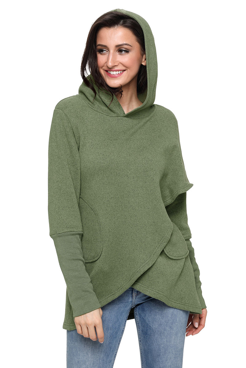 Tulip Wrap Cape Style Long Sleeve Hoodie - What's Your Chic