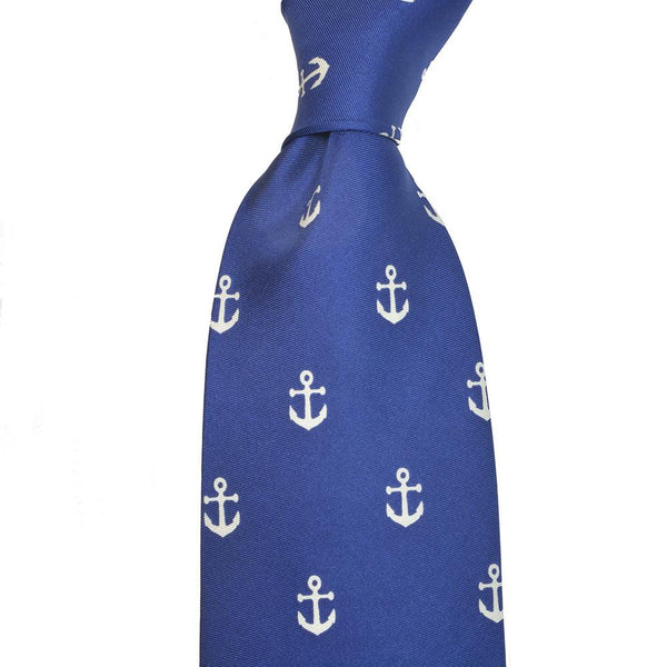 Anchor Necktie - navy, printed silk - What's Your Chic