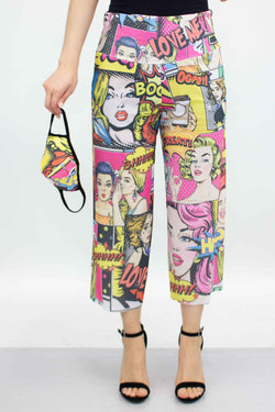 Cartoon Print Cropped Gaucho Pants and Mask - Yellow - What's Your Chic