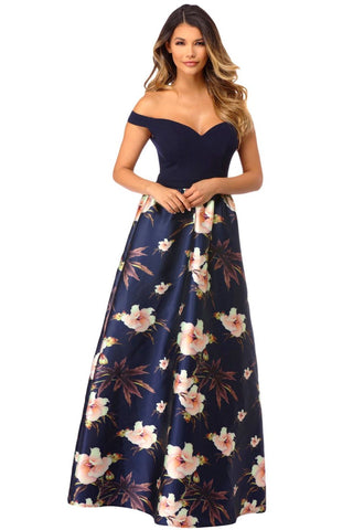 Off Shoulder Sweetheart Neck Bodice Floral Print Gown