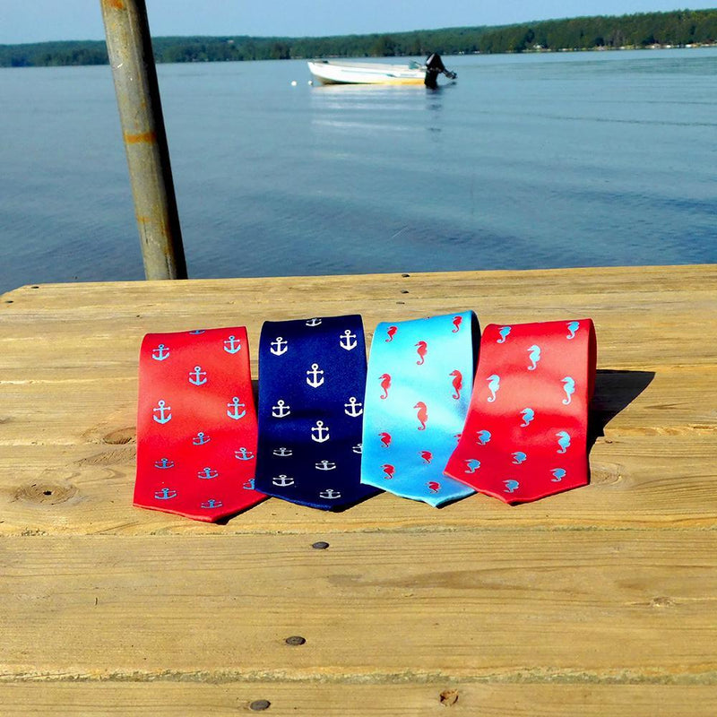 Seahorse Necktie - Blue, Printed Silk - What's Your Chic