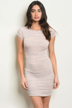 Blush  casual textured dress - What's Your Chic