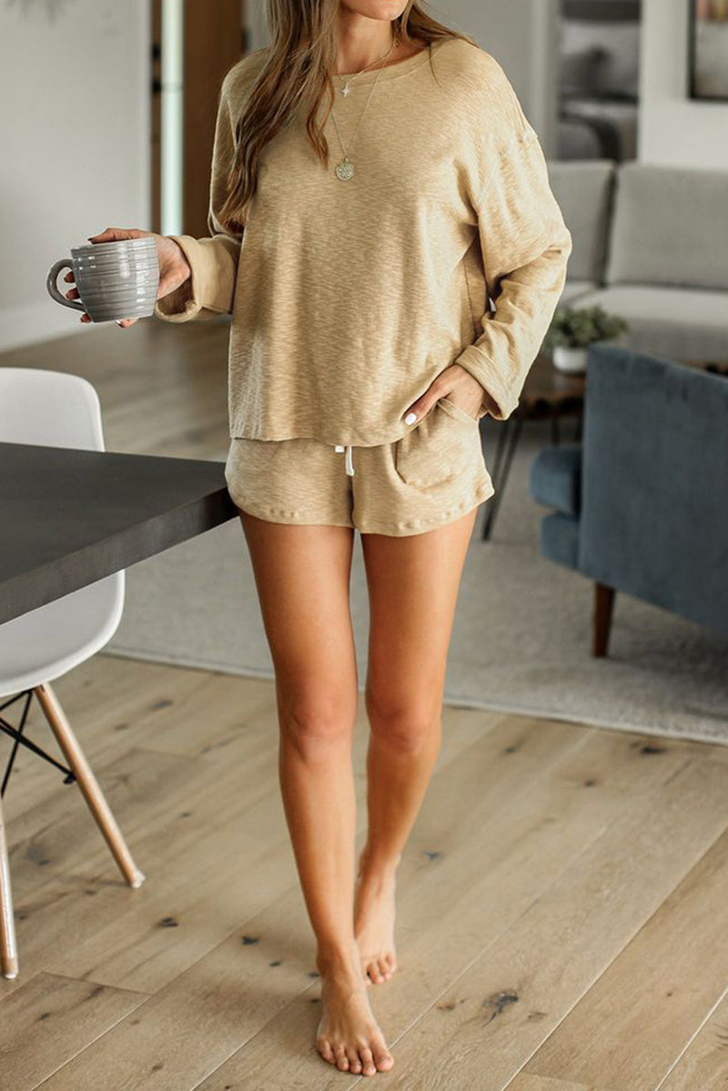 Khaki Pocketed Knit Loungewear Set - What's Your Chic
