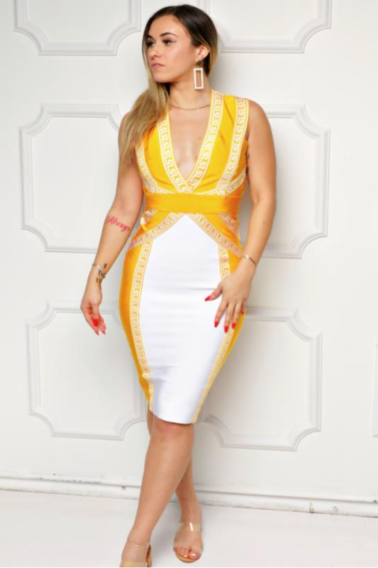 Criss Cross Bodycon Bandage Midi Dress - What's Your Chic