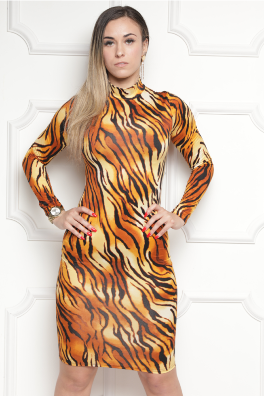 Animal Print Bodycon Midi Dress - What's Your Chic