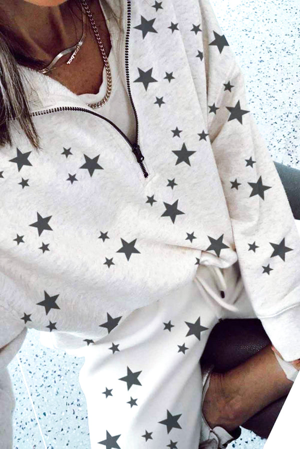 Star Print Zipper Collar Long Sleeve Top and Jogger Loungewear Set - What's Your Chic