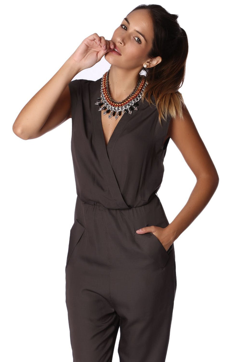 Gray Wrap Jumpsuit by Q2 - What's Your Chic
