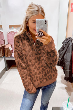 1/4 Zip Elastic Cuff Fashion Print Sherpa Pullover - What's Your Chic