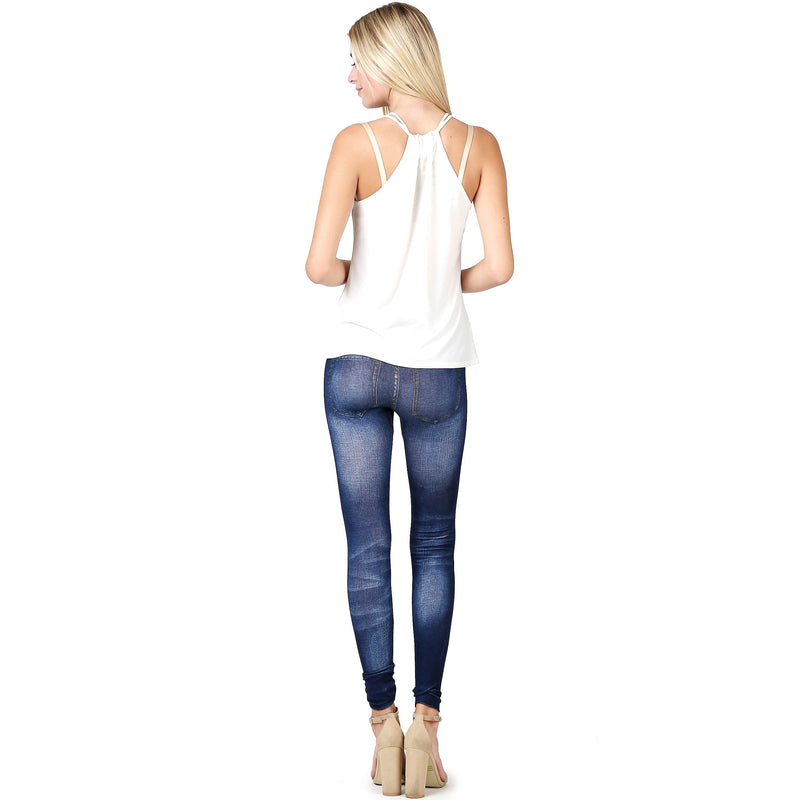 Skinny cotton poly denim print jeggings (one size) - What's Your Chic