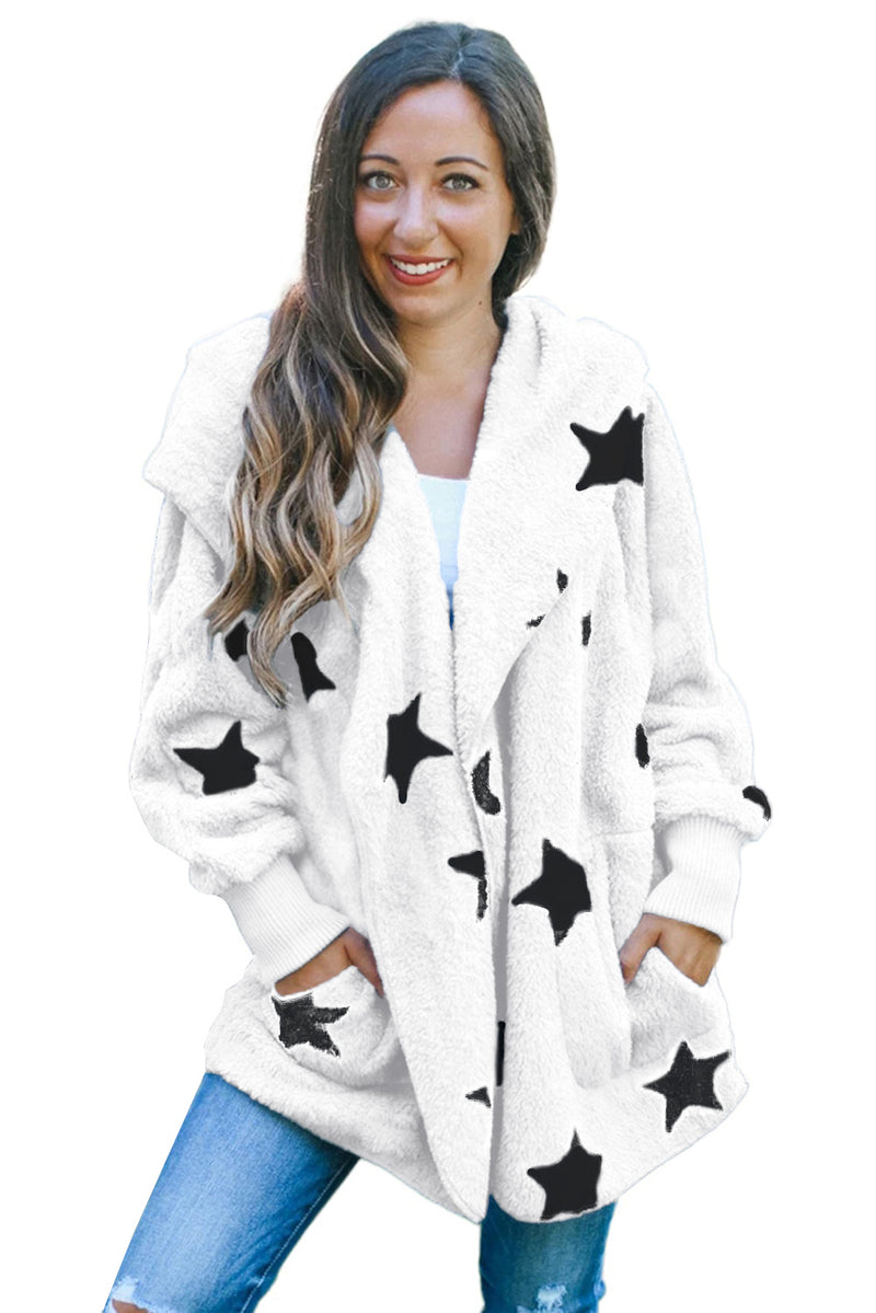 Lapel Collar Scatter Star Fuzzy Coat - What's Your Chic
