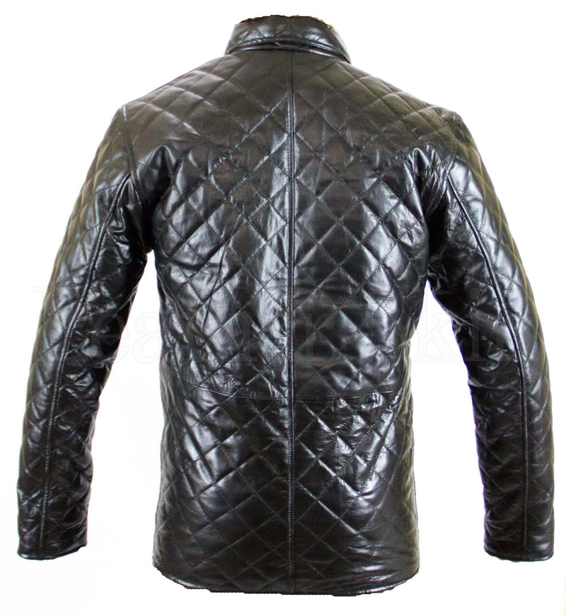Unisex Black Genuine Leather Textured Jacket - What's Your Chic
