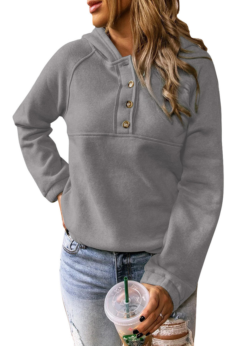 Solid Color Button Casual Hoodie - What's Your Chic