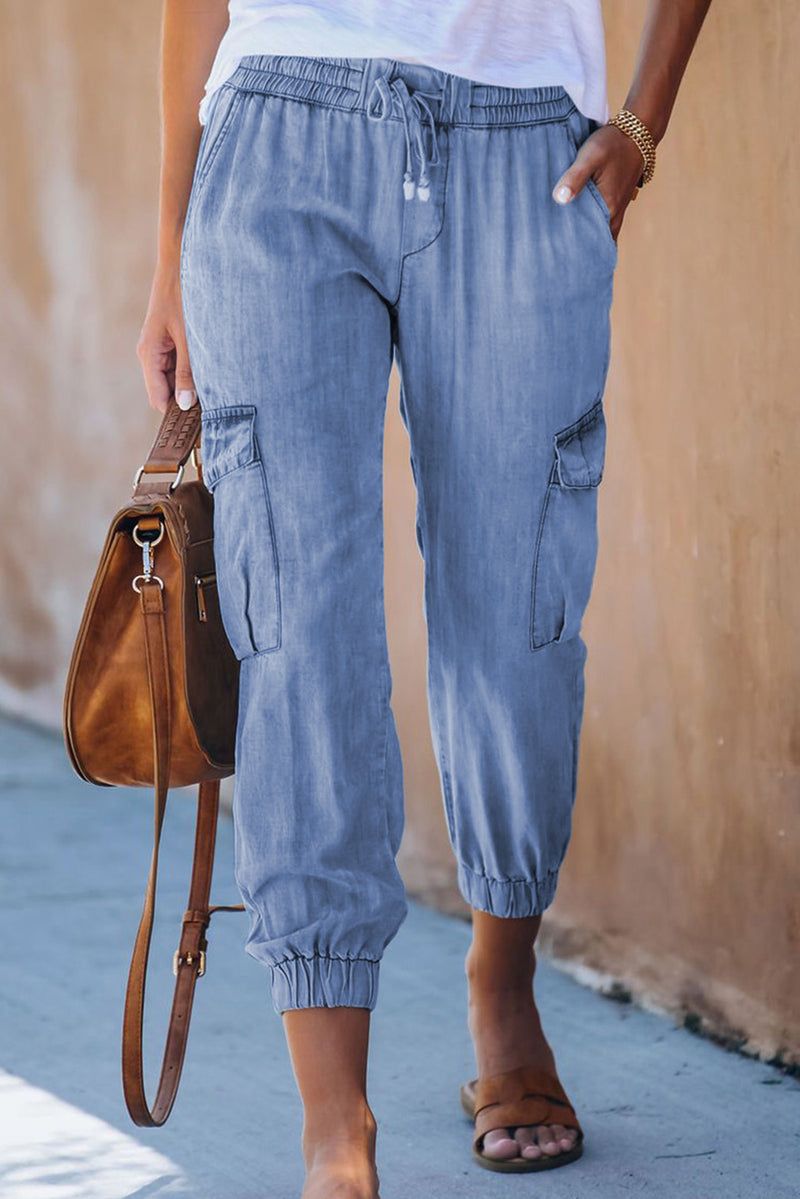 Drawstring Cargo Pocketed Joggers - What's Your Chic