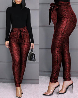 'Goodies' high-waisted glitter pants - What's Your Chic