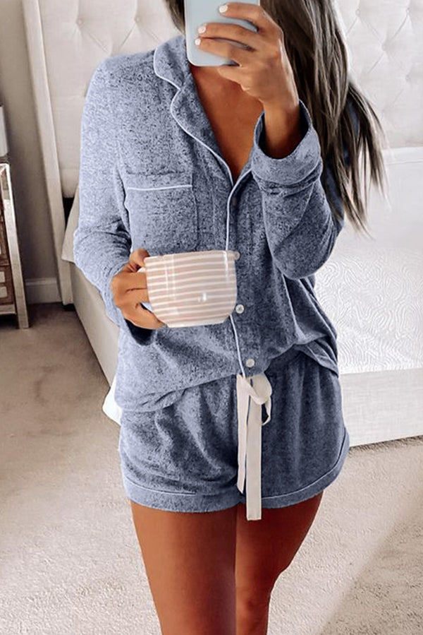 Long Sleeve Drawstring Button Loungewear - What's Your Chic