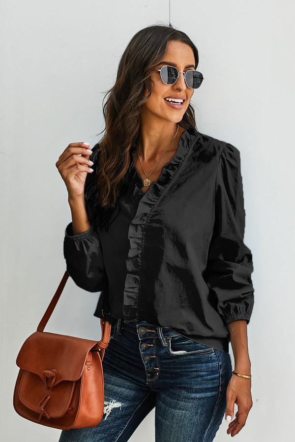 Long Sleeves Ruffles Blouse - What's Your Chic