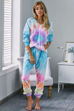 Multicolor Utopia Cotton Blend Tie Dye Hoodie Joggers Loungewear - What's Your Chic