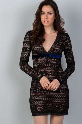 'Reverse Horizon' floral lace mini dress