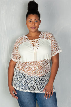 'So What' solid panel crochet lace up top - What's Your Chic