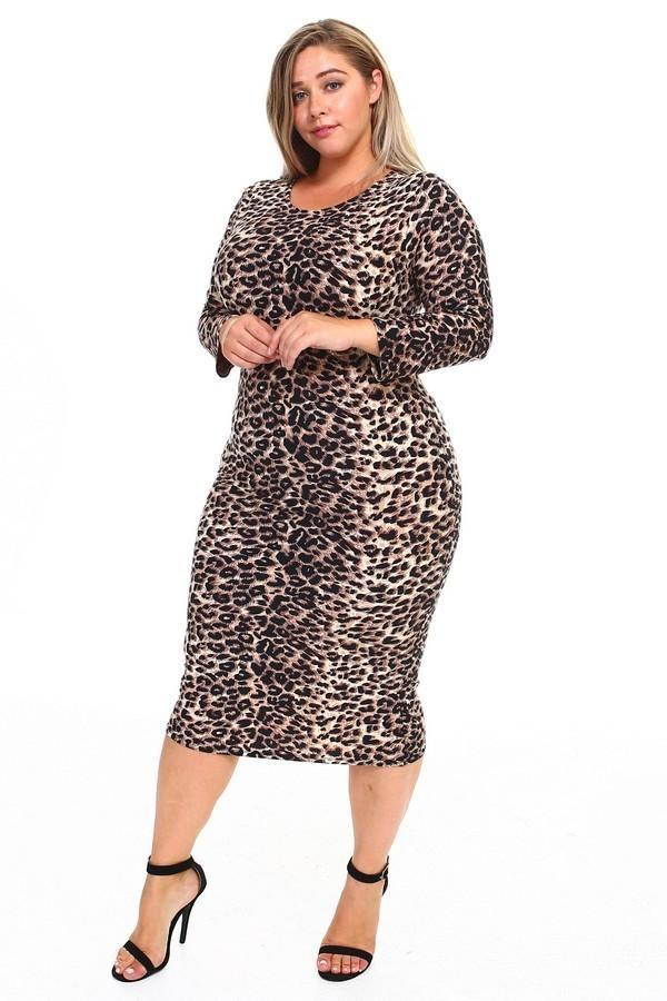 Leopard Print Long Sleeve Plus Size Midi Dress - What's Your Chic