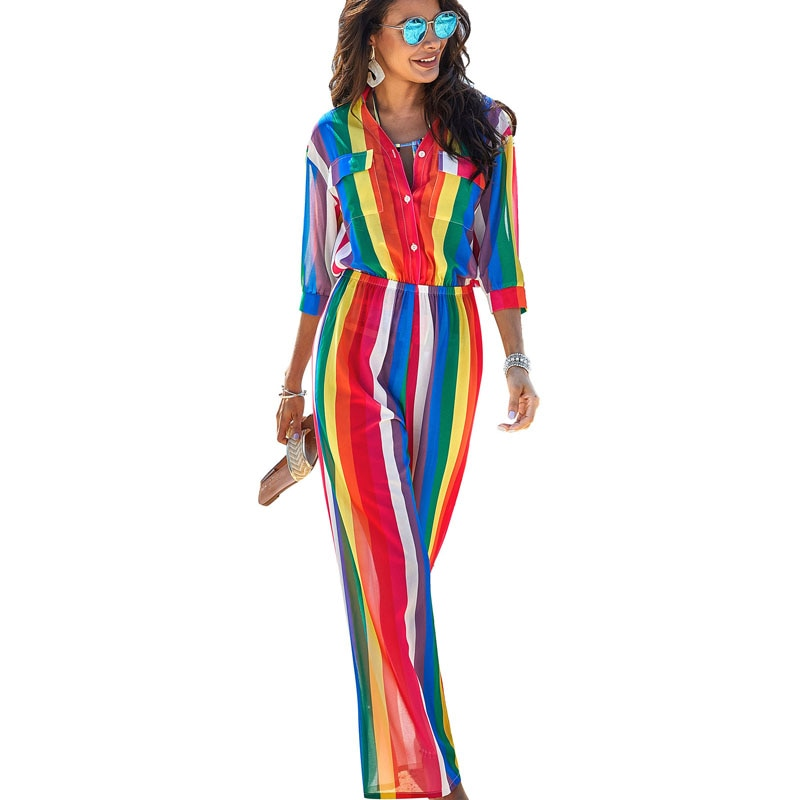 Short sleeve collared rainbow jumpsuit or maxi swimsuit cover - What's Your Chic