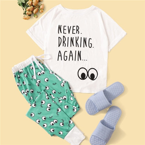 Never Drinking Again tee and pajama pants set - What's Your Chic