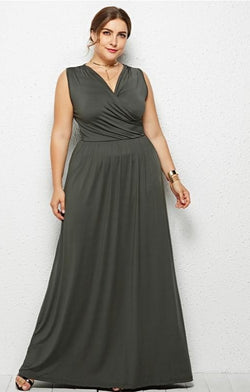 Sleeveless v-neck maxi by Jessie Vinson - What's Your Chic
