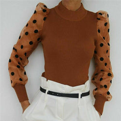 Ribbed polka dot mesh top - What's Your Chic