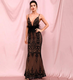 Deep v-neck open back maxi - What's Your Chic