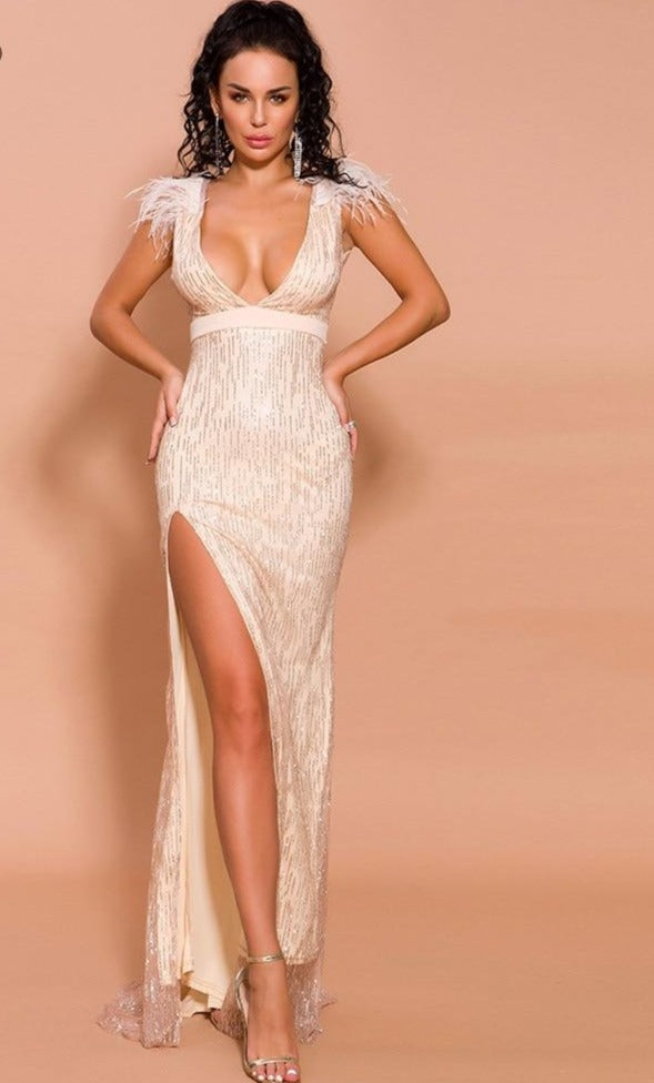 Deep V off-shoulder glitter dress - What's Your Chic