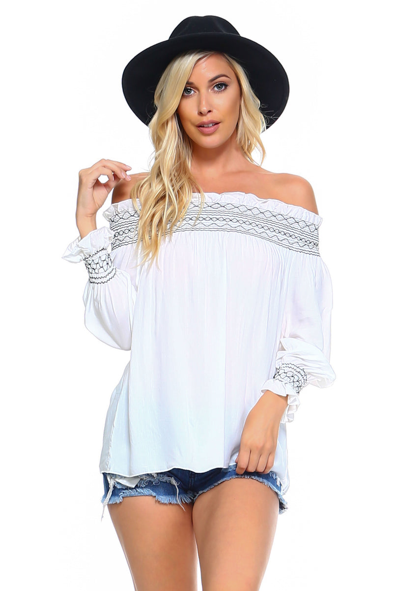 Women's Off Shoulder Stripe Smocked Elastic Top - What's Your Chic
