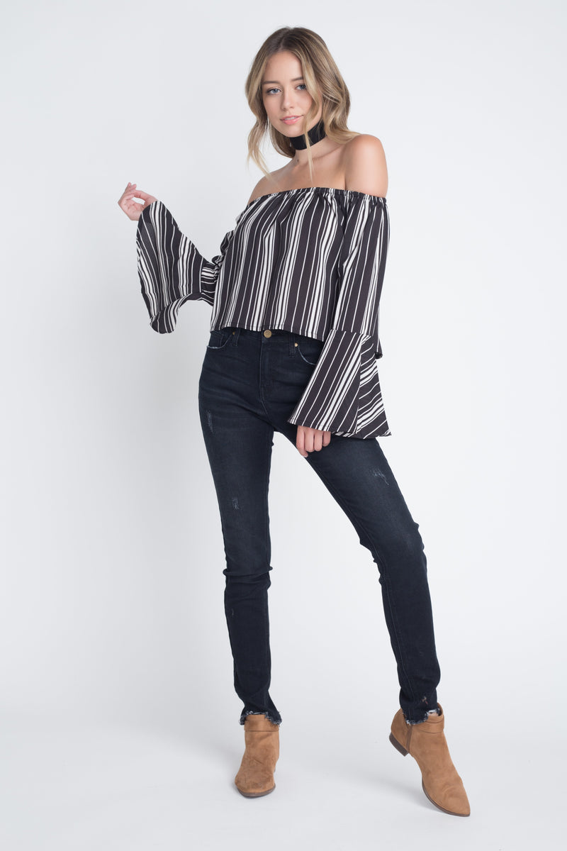 Women's Off Shoulder Casual Stripe Bell Sleeve Top - What's Your Chic