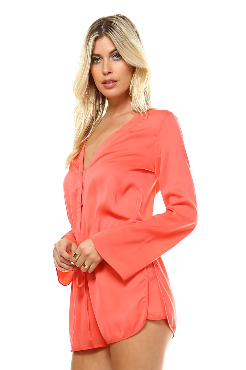 Women's Long Sleeve Waist Tie Romper - What's Your Chic