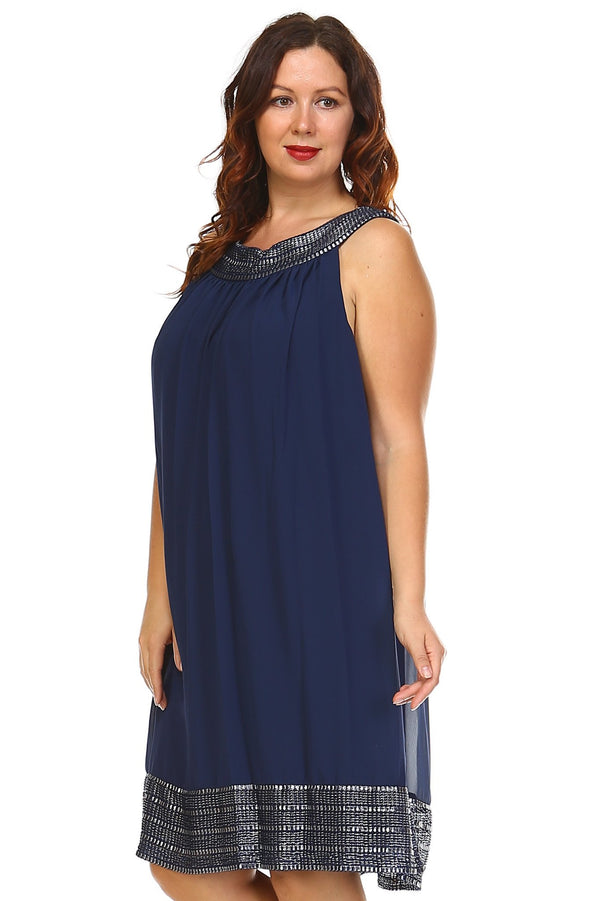 Women's Plus Size Silver Embroidered Neckline Chiffon Dress - What's Your Chic