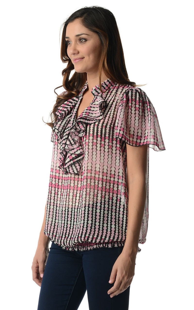 Women's Printed Chiffon Smocked Waist Ruffle Top - What's Your Chic