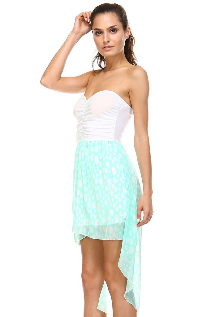 Women's Mixed Media Hi-Low Strapless Dress - What's Your Chic