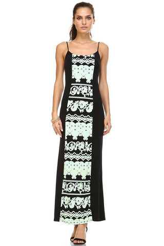 Women's Printed Contrast Maxi Tank Dress - What's Your Chic
