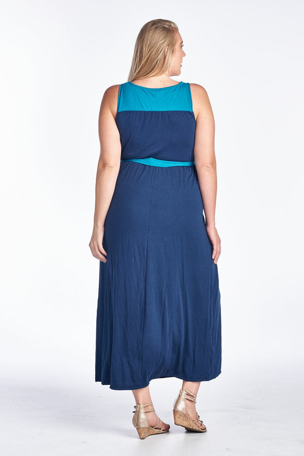 Women's Plus Size Sleeveless Colorblock Dress - What's Your Chic