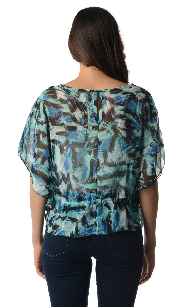 Women's Printed Chiffon Tie Front Top - What's Your Chic