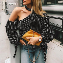 Women Regular Three Quarter Length Polka Dot Pattern Ruffles Ruffles Blouse Tops - What's Your Chic