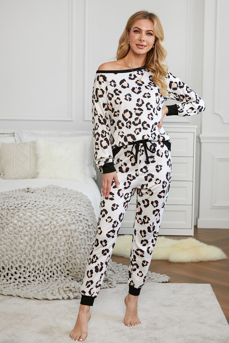Print Long Sleeve Joggers Loungewear Set - What's Your Chic