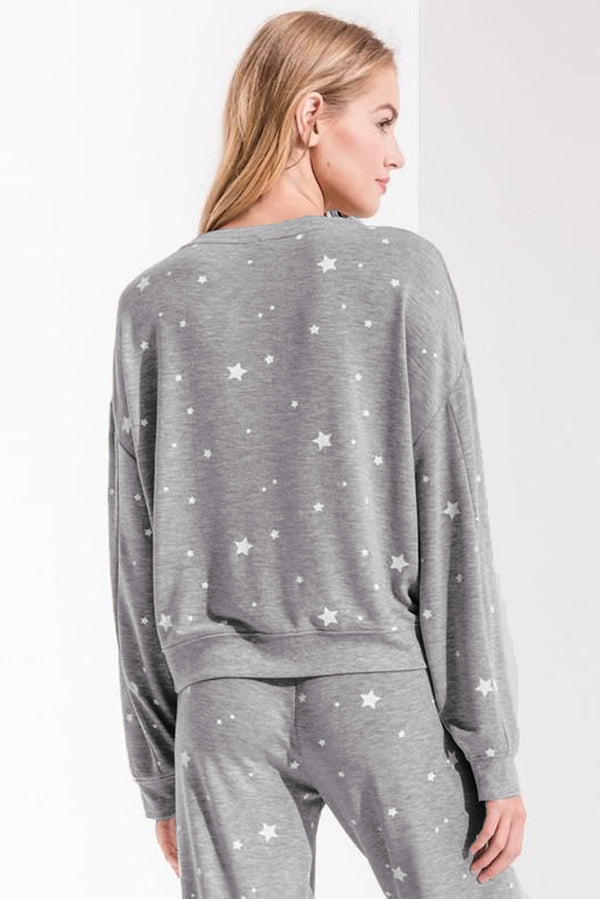 Star Print Long Sleeve Top & Drawstring Pants Loungewear - What's Your Chic