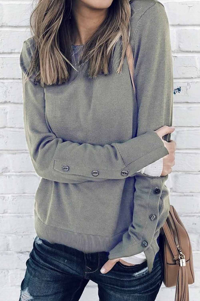 Round Neck Slit Cuff Buttoned Sweatshirt - What's Your Chic