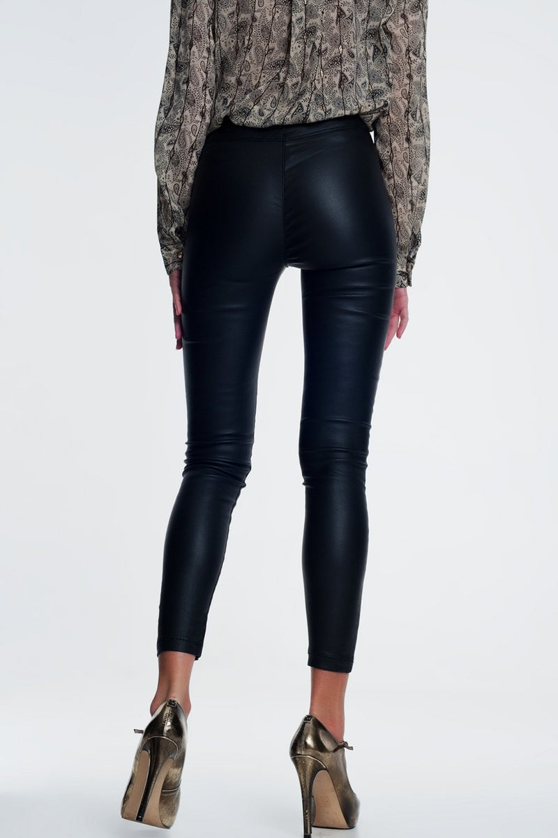 Leather design leggings by Q2 - What's Your Chic