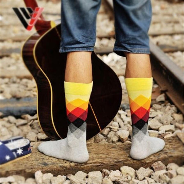 10 Pairs/ Men Socks Diamond Striped - What's Your Chic
