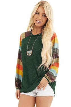 Multicolor Striped Balloon Sleeves Green Knit Top - What's Your Chic