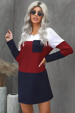 Color Block Pocket Mini Dress - What's Your Chic