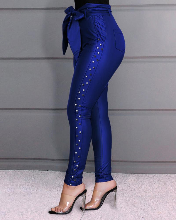 'Goodies' high-waisted beaded pants - blue - What's Your Chic